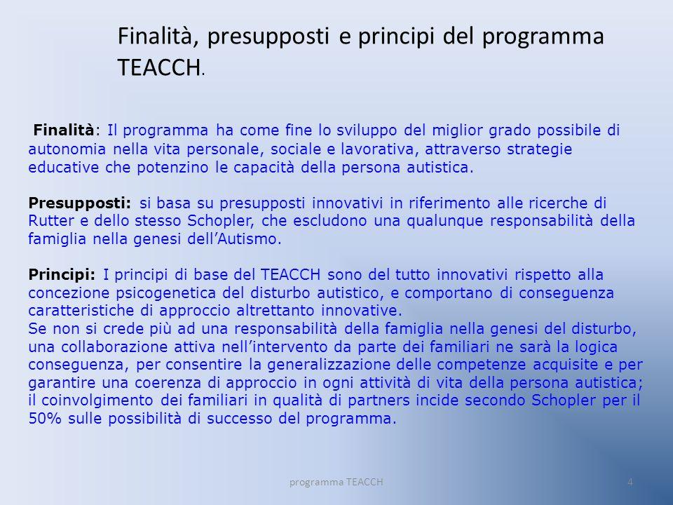 Finalità, presupposti e principi del programma TEACCH.