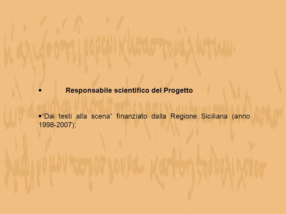 Responsabile scientifico del Progetto