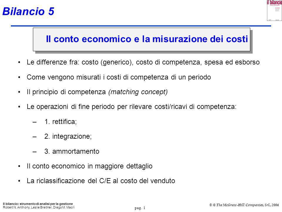Bilancio 5 Il conto economico e la misurazione dei costi