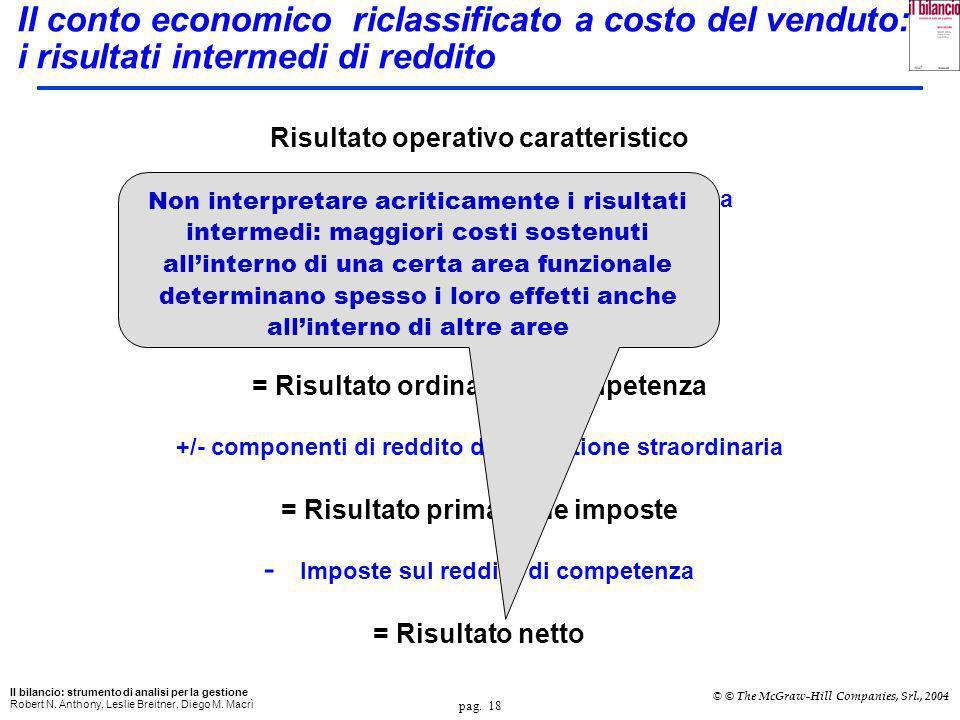 Il conto economico riclassificato a costo del venduto: i risultati intermedi di reddito
