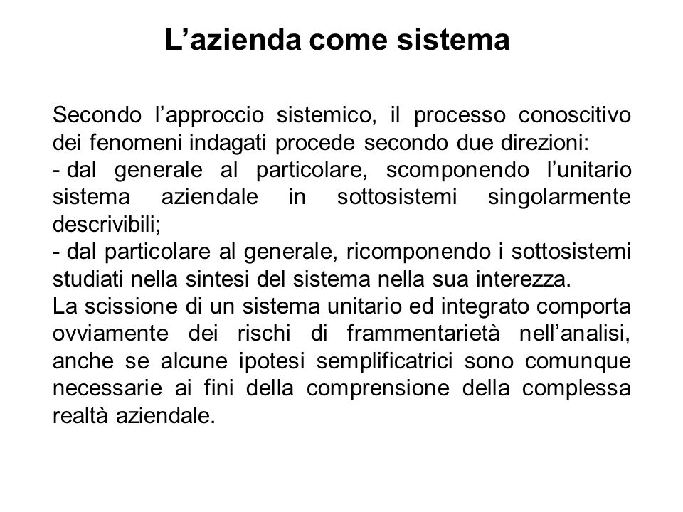 L'azienda come sistema
