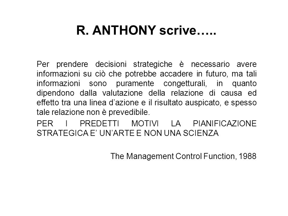 R. ANTHONY scrive…..