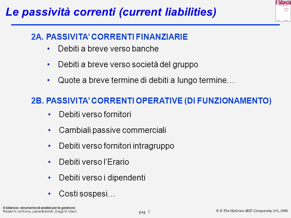 Le passività correnti (current liabilities)