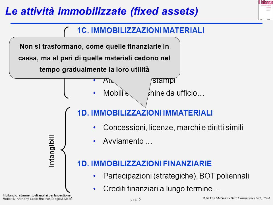 Le attività immobilizzate (fixed assets)