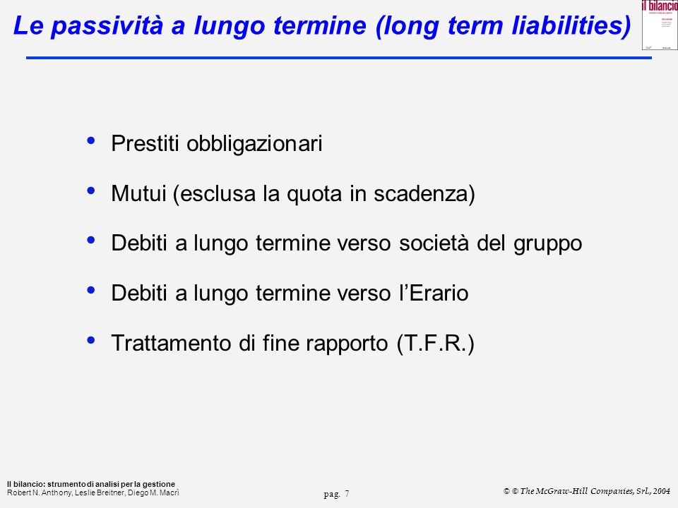 Le passività a lungo termine (long term liabilities)