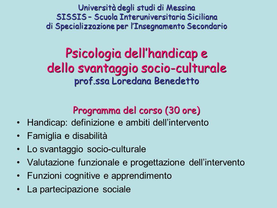 Handicap: definizione e ambiti dell'intervento Famiglia e disabilità