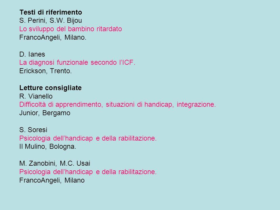 Testi di riferimento S. Perini, S.W. Bijou. Lo sviluppo del bambino ritardato. FrancoAngeli, Milano.