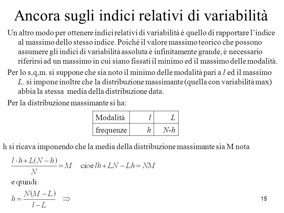 Ancora sugli indici relativi di variabilità