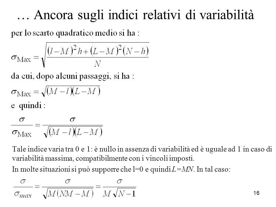 … Ancora sugli indici relativi di variabilità