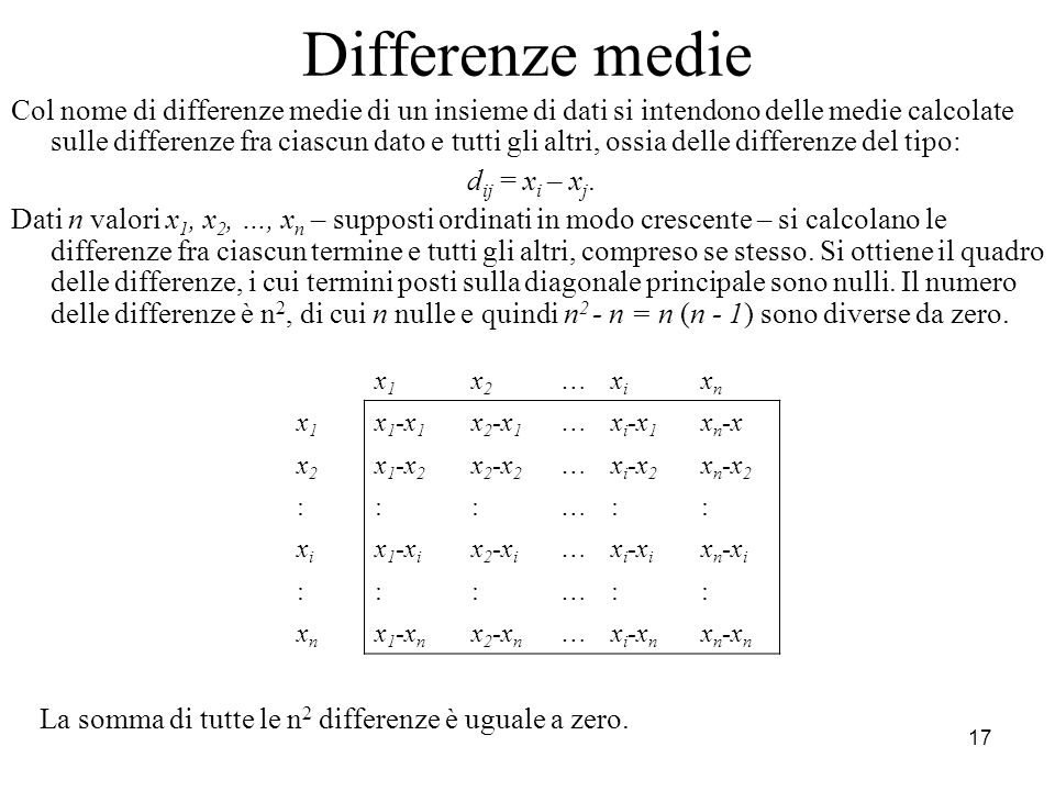 Differenze medie