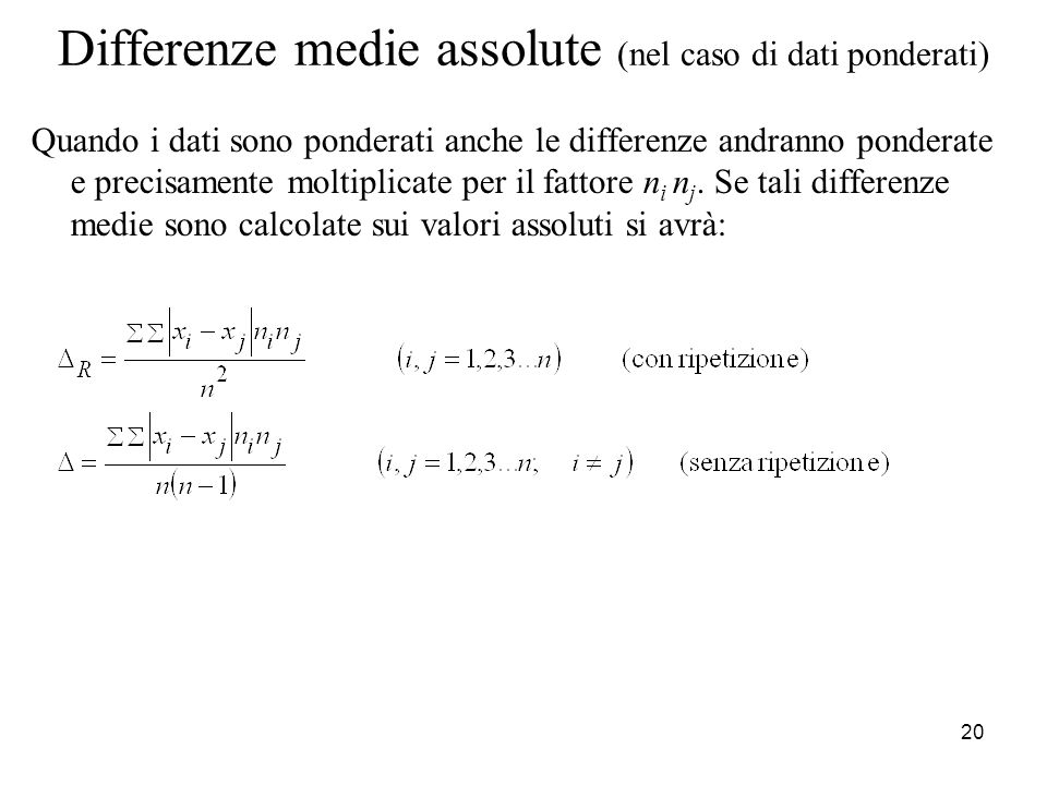 Differenze medie assolute (nel caso di dati ponderati)