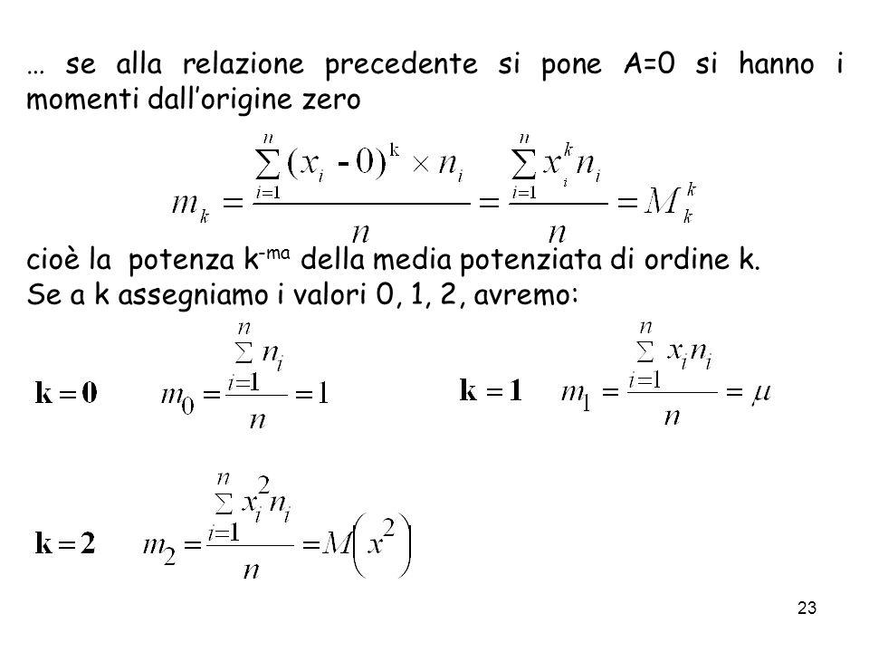 … se alla relazione precedente si pone A=0 si hanno i momenti dall'origine zero