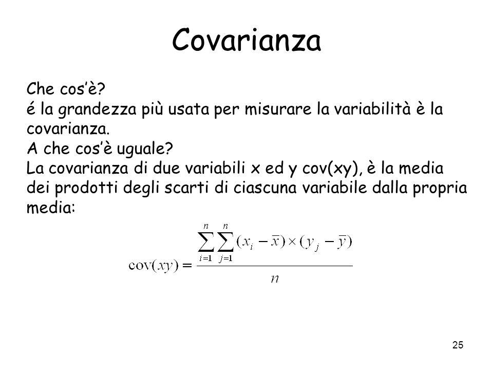 Covarianza Che cos'è é la grandezza più usata per misurare la variabilità è la covarianza. A che cos'è uguale
