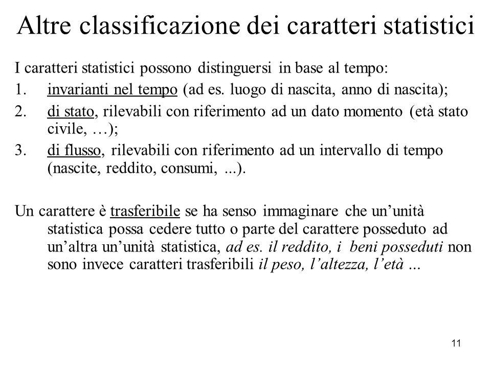 Altre classificazione dei caratteri statistici