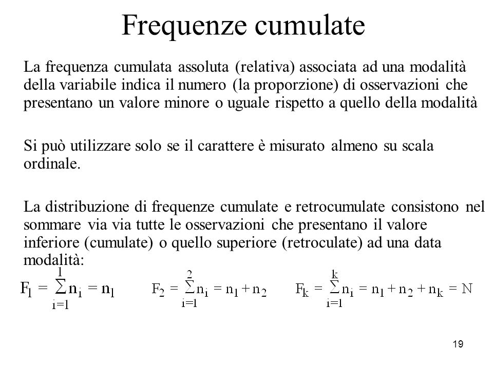 Frequenze cumulate