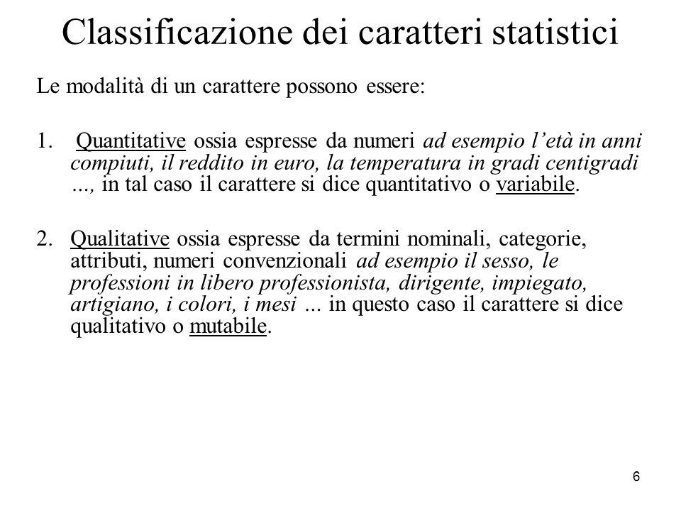 Classificazione dei caratteri statistici