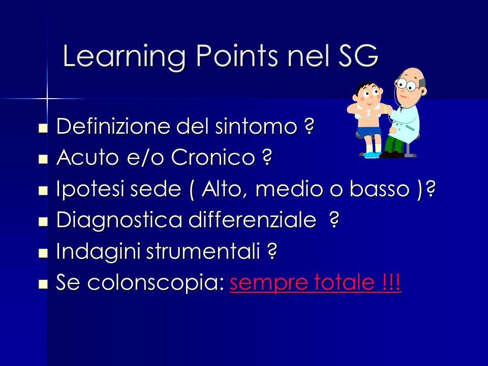Learning Points nel SG Definizione del sintomo Acuto e/o Cronico