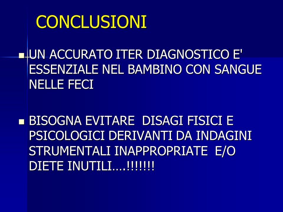 CONCLUSIONI UN ACCURATO ITER DIAGNOSTICO E ESSENZIALE NEL BAMBINO CON SANGUE NELLE FECI.