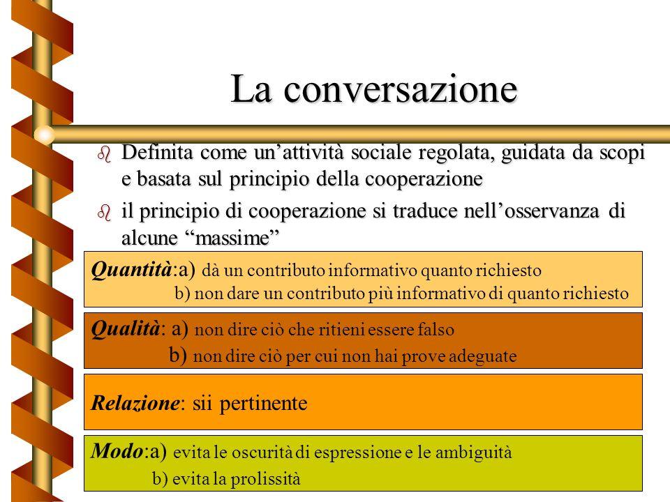 La conversazioneDefinita come un'attività sociale regolata, guidata da scopi e basata sul principio della cooperazione.