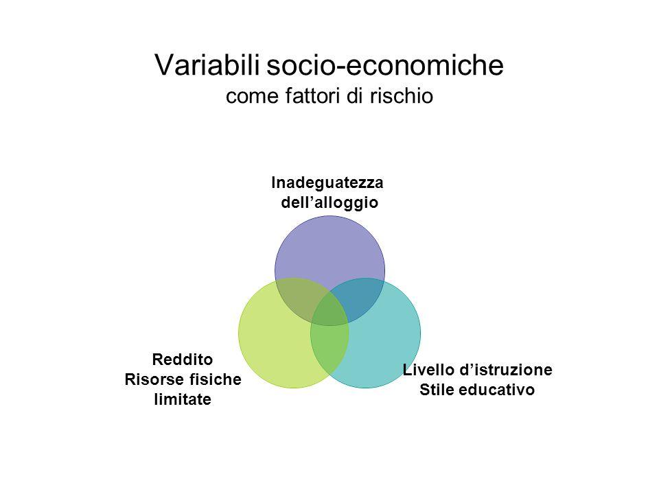 Variabili socio-economiche come fattori di rischio