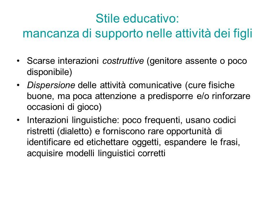 Stile educativo: mancanza di supporto nelle attività dei figli