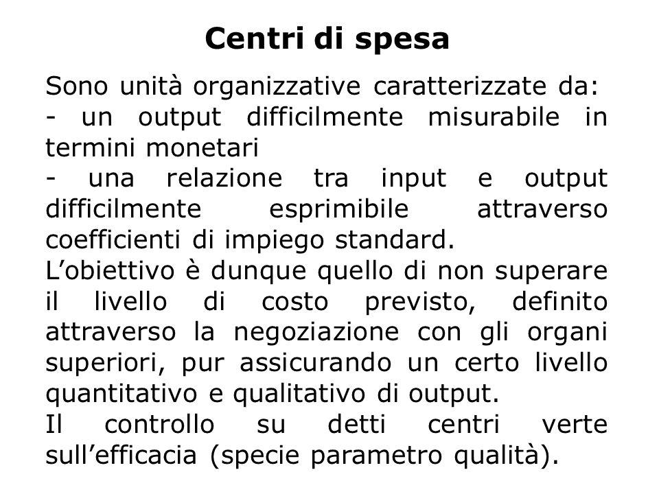 Centri di spesa Sono unità organizzative caratterizzate da: