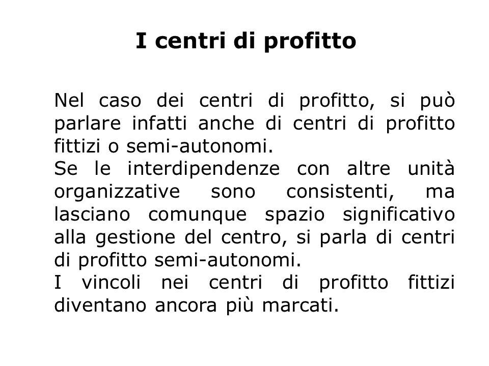 I centri di profitto Nel caso dei centri di profitto, si può parlare infatti anche di centri di profitto fittizi o semi-autonomi.