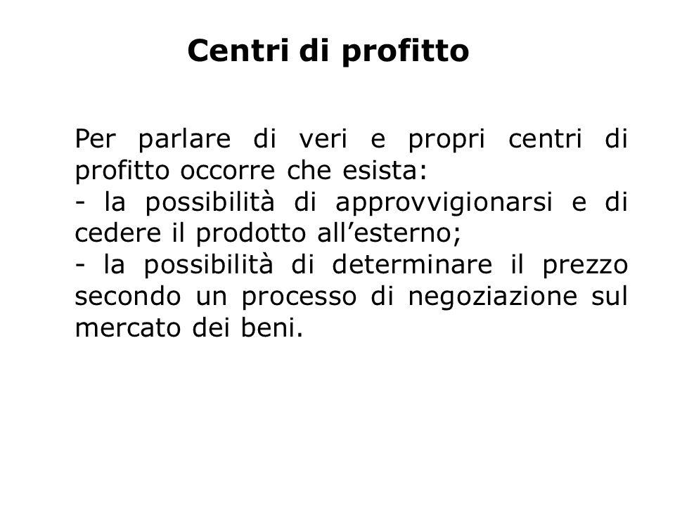 Centri di profitto Per parlare di veri e propri centri di profitto occorre che esista: