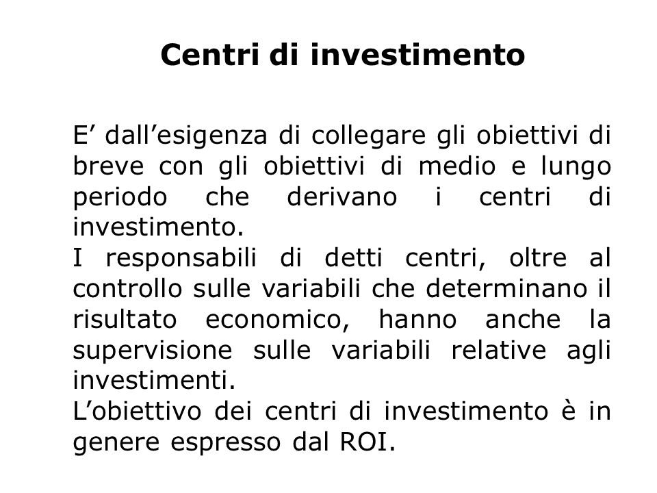 Centri di investimento