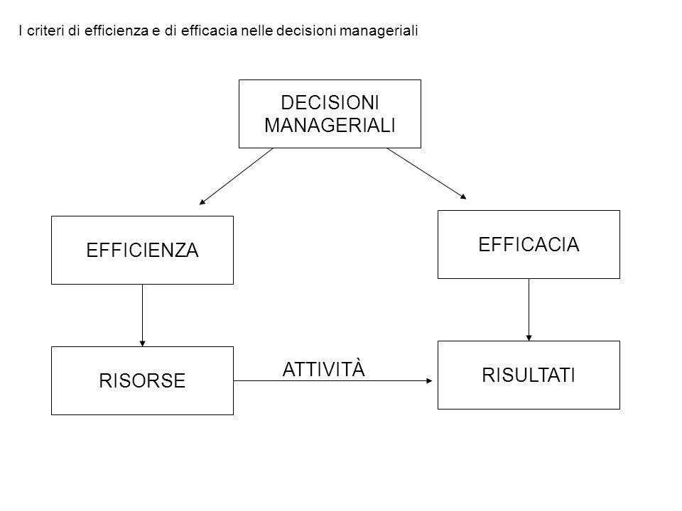 DECISIONI MANAGERIALI EFFICACIA EFFICIENZA ATTIVITÀ RISULTATI RISORSE