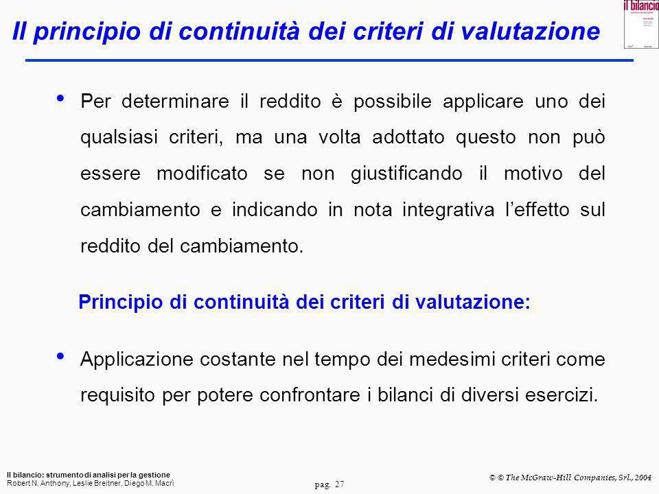 Il principio di continuità dei criteri di valutazione