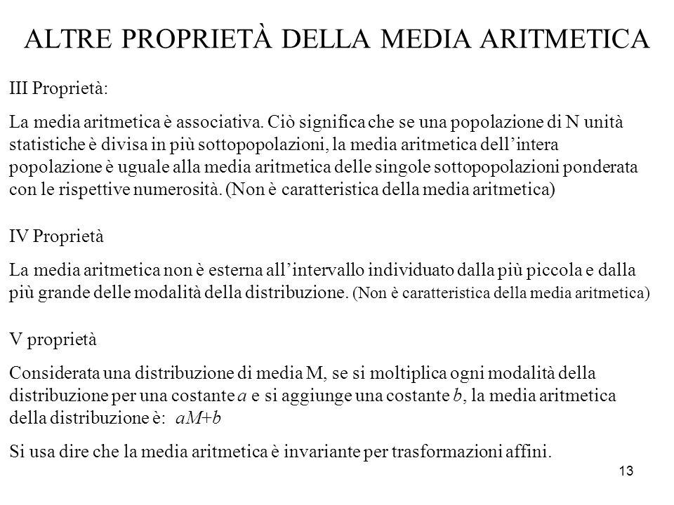 ALTRE PROPRIETÀ DELLA MEDIA ARITMETICA