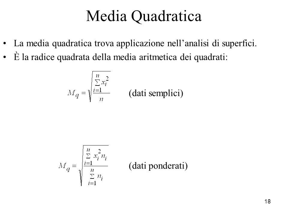 Media Quadratica La media quadratica trova applicazione nell'analisi di superfici. È la radice quadrata della media aritmetica dei quadrati: