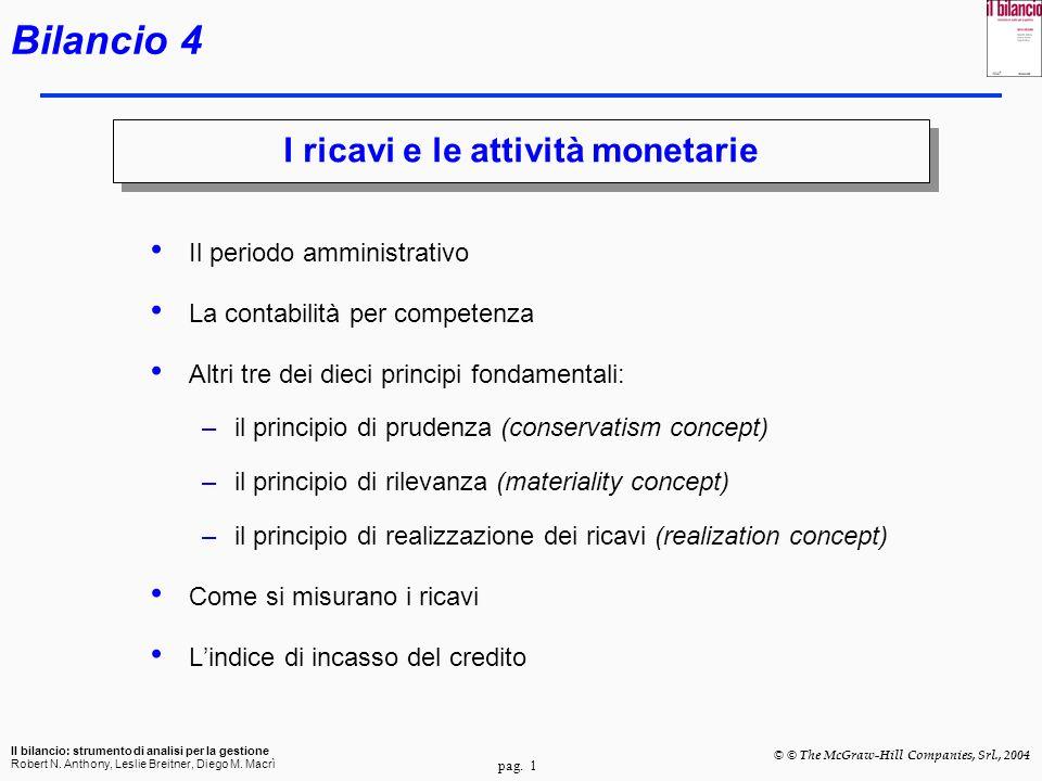 I ricavi e le attività monetarie