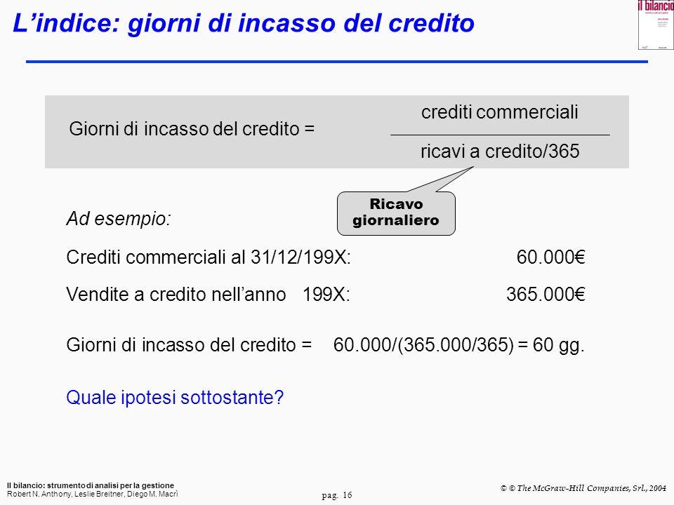 L'indice: giorni di incasso del credito