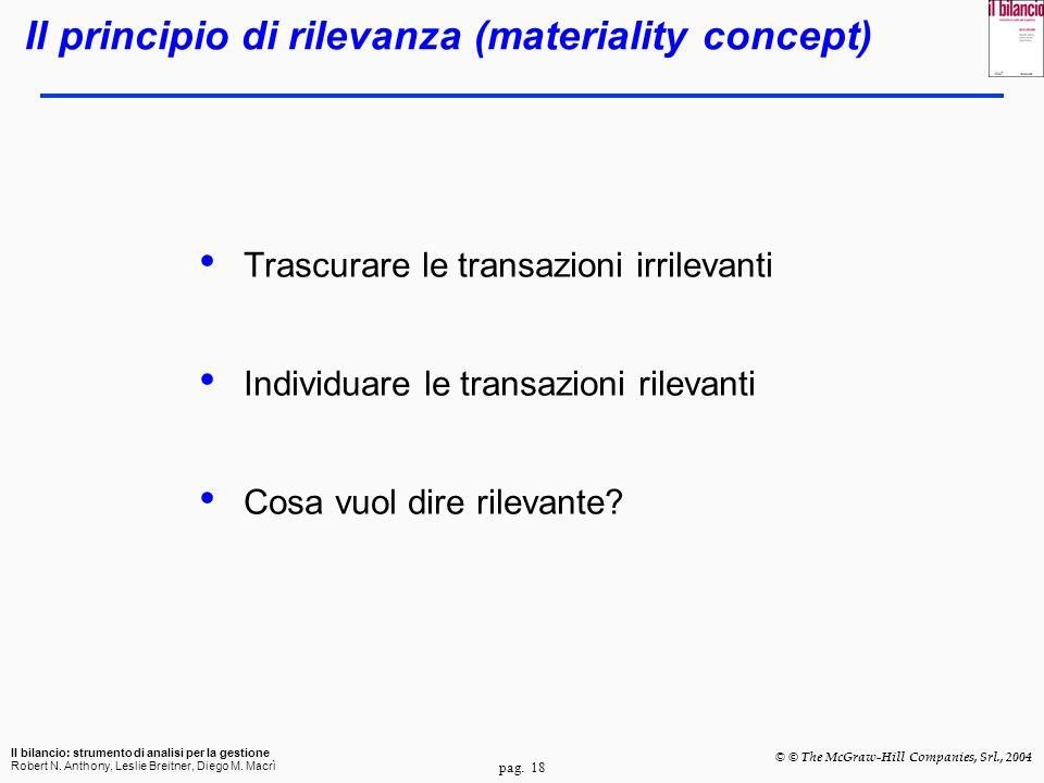 Il principio di rilevanza (materiality concept)