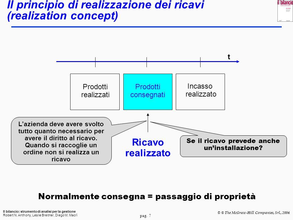 Il principio di realizzazione dei ricavi (realization concept)