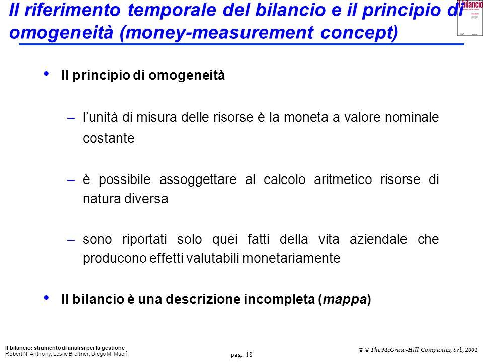 Il riferimento temporale del bilancio e il principio di omogeneità (money-measurement concept)