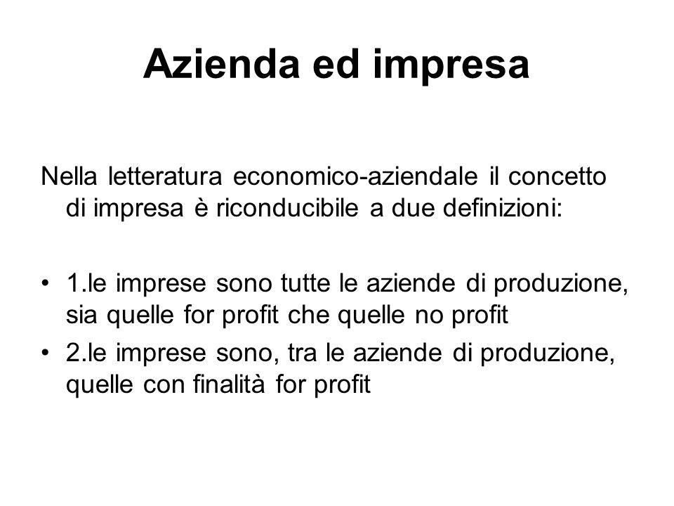 Azienda ed impresa Nella letteratura economico-aziendale il concetto di impresa è riconducibile a due definizioni: