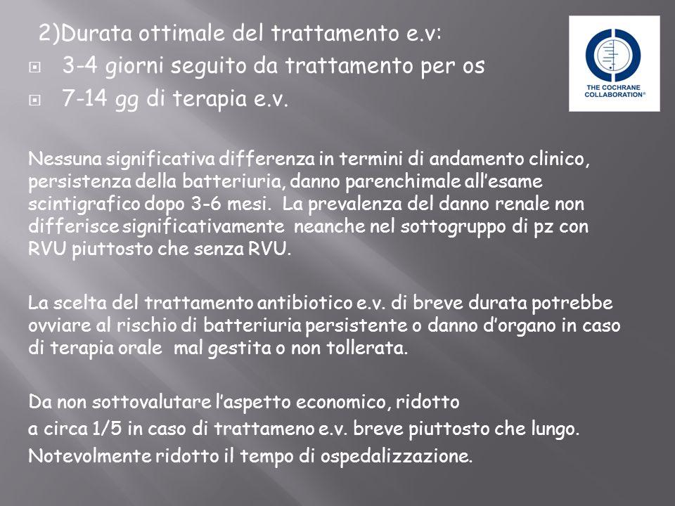 2)Durata ottimale del trattamento e.v: