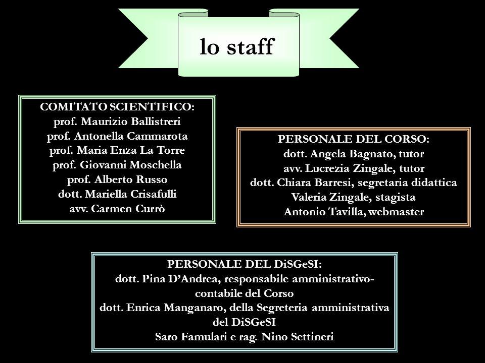 lo staff COMITATO SCIENTIFICO: prof. Maurizio Ballistreri