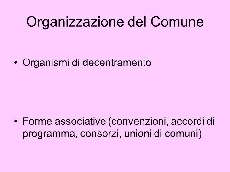 Organizzazione del Comune