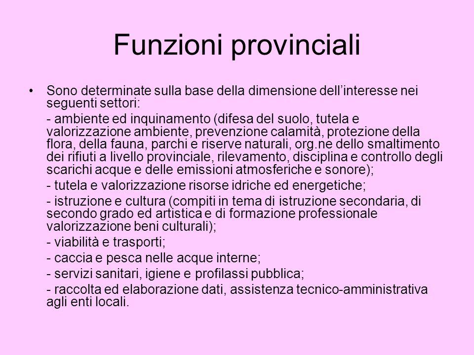 Funzioni provinciali Sono determinate sulla base della dimensione dell'interesse nei seguenti settori: