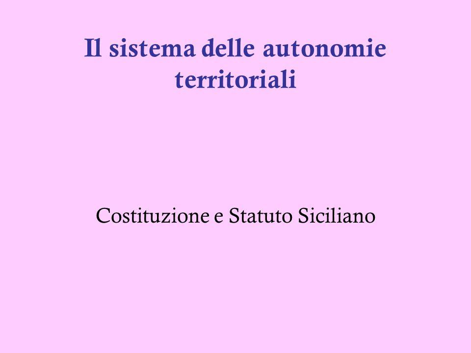 Il sistema delle autonomie territoriali