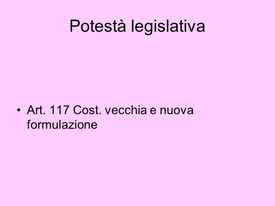 Potestà legislativa Art. 117 Cost. vecchia e nuova formulazione