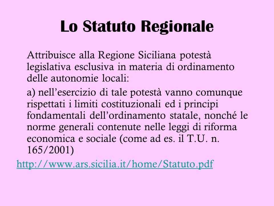 Lo Statuto Regionale Attribuisce alla Regione Siciliana potestà legislativa esclusiva in materia di ordinamento delle autonomie locali: