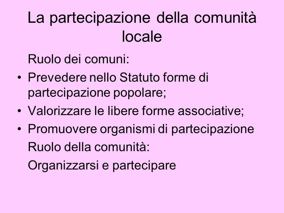 La partecipazione della comunità locale