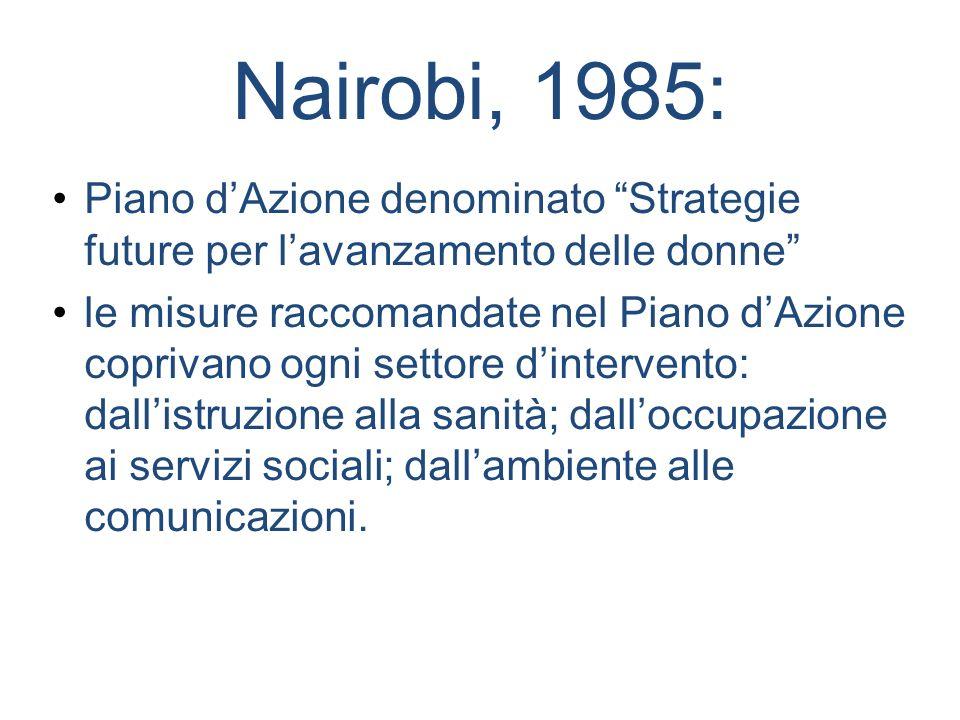 Nairobi, 1985: Piano d'Azione denominato Strategie future per l'avanzamento delle donne