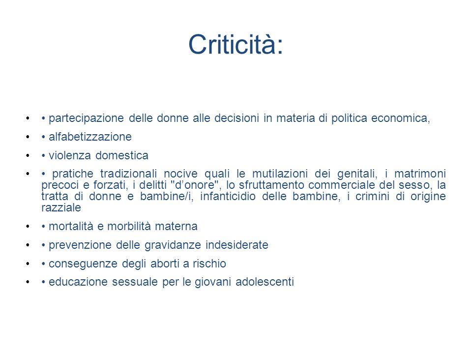 Criticità: • partecipazione delle donne alle decisioni in materia di politica economica, • alfabetizzazione.