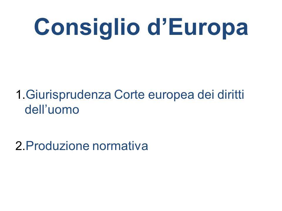Consiglio d'Europa Giurisprudenza Corte europea dei diritti dell'uomo